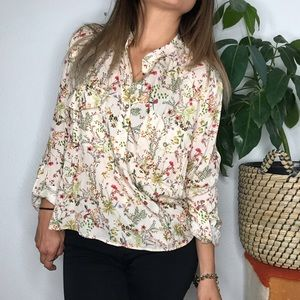 Zara women floral blouse long sleeve botanical top